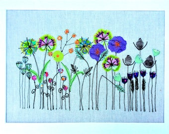 Floral Art Print -  Mixed Media -Textile Art Print -  Print -  Wall Picture - Art Print - Embroidered Art - Colourful Art - Gift for Her