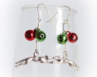 Greyhound Whippet Galgo Jingle Bell Christmas Holiday Wire Earrings