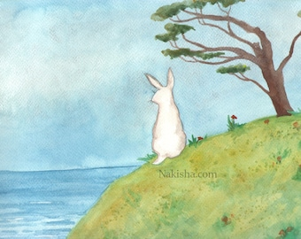 RESERVED for LS - Original Art - Above the Beach - Watercolor Rabbit Painting