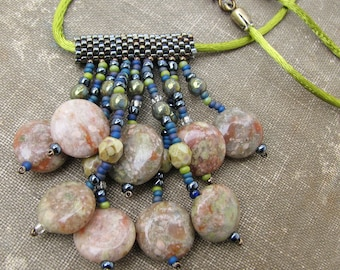 Sage Green Fringe Necklace with Unakite Stone Accents