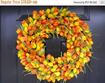 SUMMER WREATH SALE Spring Wreath, Tulip Spring Wreath Custom, Spring Decor, Easter Wreath, Housewarming Gift, Orange Tulip Wreath