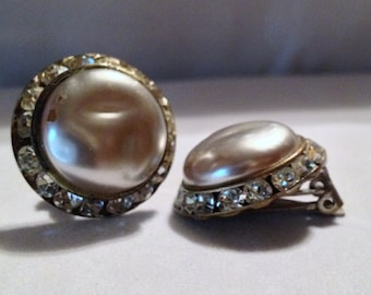 1940's Faux Pearl and Channel-set Rhinestone Clip on Earrings