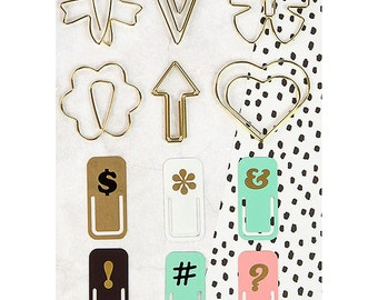 Prima - My Prima Planner - Variety Clips 12 Pack 6 Shaped Gold Wire & 6 Painted