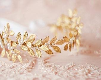 Vintage bridal head band, Laurel leaf crown, Silver leaf crown, Boho Crown, Weddings, Gold wedding Crown, Bridal Tiara, Wedding Crown, #2003