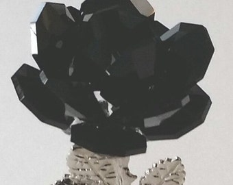 Black Crystal Rose - Black Rose Handcrafted By The Artisans At Bjcrystalgifts Using Swarovski Crystals