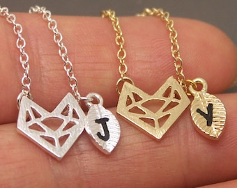 Origami Fox Necklace,Fox Necklace,Fox Face Necklace,Paper Fox Necklace,Fox Jewelry,Animal Necklace,Personalized Initial Necklace ANML04