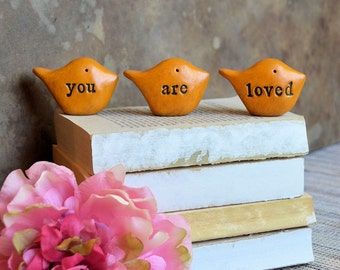 Gift for her, you are loved ... Three rustic handmade clay birds ... Yellow Word Birds