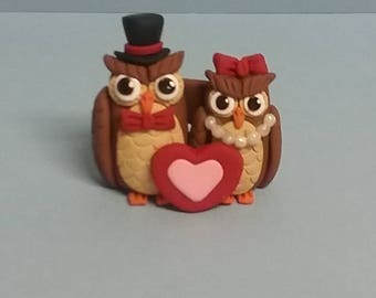 Hand Sculpted Valentine Owl Couple Figurine in Polymer Clay