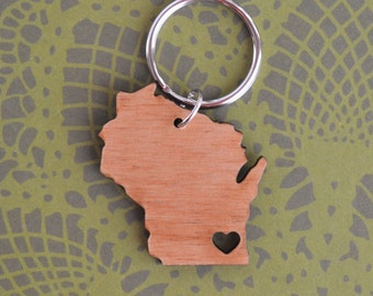 Milwaukee, Wisconsin Love Wood Key Ring