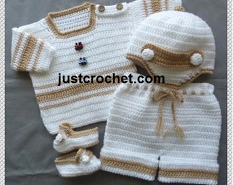 Sweater, Short Pants, Cap and Slippers Baby Crochet Pattern (DOWNLOAD) 137