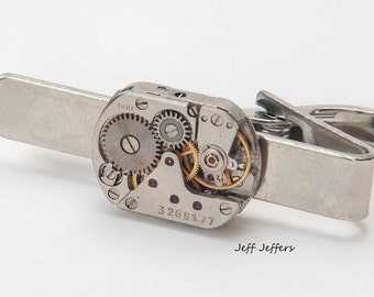 17mm Watch Movement Steampunk Tie Clip Vintage Silver and Handmade