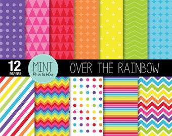 Rainbow Digital Paper, Bright Rainbow Colored Scrapbooking Paper, Printable Sheets, Polka dots, Chevron, Stripes - BUY 2 GET 1 FREE!