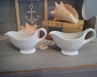 2 vintage white Ironstone Gravy Boats ~ Shabby Chic Cottage servers