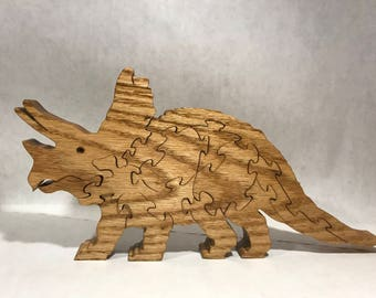Wooden Triceratops Jigsaw Puzzle