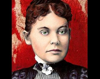 """Print 8x10"""" - Lizzie Borden - Axe Murder Dark Art Horror Blood Antique Victorian Gothic Halloween Serial Killers Lowbrow Art Pop Blood"""