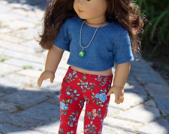 "18"" Doll clothes Blue Crop Tee with Blue and Red Floral Leggings to Fit Like American Girl Doll Clothes, 18"" Doll Outfit, Doll Leggings"