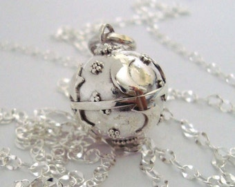 16mm Star Moon Mexican Bola Sterling Silver Maternity Pregnancy Harmony ball Chime Necklace chain CN9