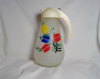 "Vintage Large Hazel Atlas ""Gay Fad"" Syrup Pitcher, Hand Painted Tulips, Retro Kitchen, Vintage Kitchen, Farmhouse, Excellent Condition"