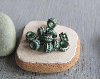 rondelle beads, bali style design, metal casting barrel, green patina on antiqued copper  3 x 5mm ( 20 beads) 6As1467