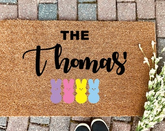 Easter gift etsy easter doormat door mat welcome mat easter gift personalized mat custom negle Images