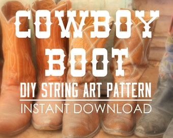 "String Art Pattern - Cowboy Boot - 10"" x 9"""