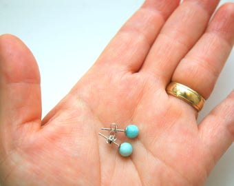 Blue Dominican Larimar Stud Earrings, 925 Sterling Silver Studs, Round Larimar Earrings, Small Bead Studs,Larimar Jewelry, gifts for her