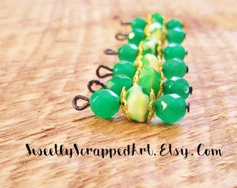 Green Beaded Charms.. Scrapbooking Charms. Planner Charms. Cardmaking. Journaling. Collage. Jewelry Making. DIY. Beaded Craft Supplies. BOHO