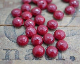 Vintage Cabochon Faceted 8mm Cabochon Oxblood Red Small Cab (6) J191