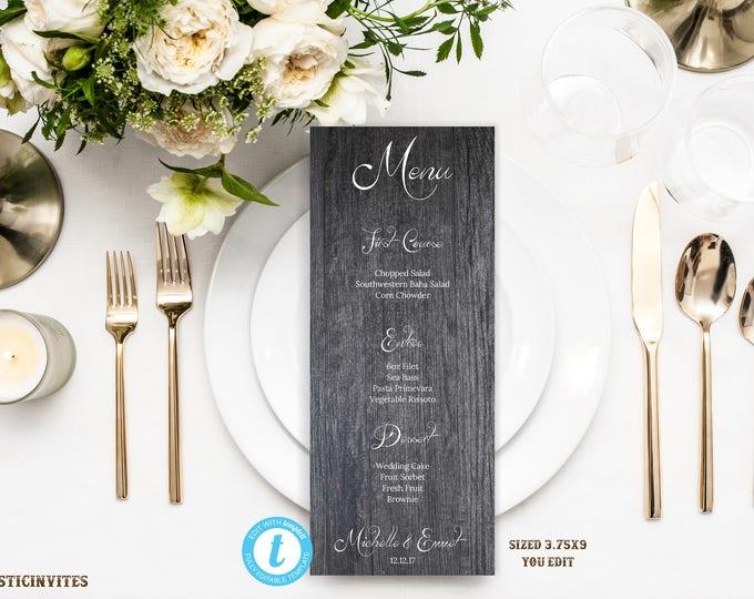 Wedding Menu Template, Wedding Menu, Rustic Menu, Menu Template, Rustic Menu Template, Wedding Menu Card, Printable Menu, Editable, DIY Menu
