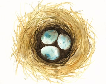 Nest watercolor - PRINT