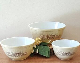Vintage Pyrex Mixing Bowl Set Forest Fancies 1980's 3 Pyrex Nesting Bowls
