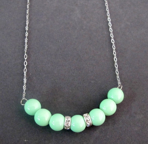 Mint Green Pearl Necklace Mint Green Necklace Weedding Floating 7 Pearl Necklace,Mint Green jewlery Spring Jewelry, Free Shipping USA