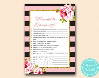 Pink and Gold What did the Groom Say, What did he say about her, Newlywed Game, Gold Bridal Shower, Bachelorette, Wedding Shower BS419