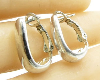 Su 925 sterling silver - petite hooped clip back stud drop earrings - e1023