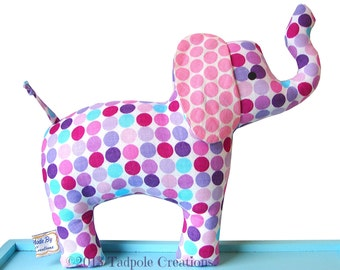 Baby Soft Elephant Toy -  Cloth with Rattle - Baby Safe - Toddler - Child Friendly  - Kids - Purple Pink Turquoise Dots