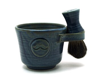 Blue Mustache Shaving Set With a Black Badger Hair Brush and Shaving Soap Ready to Ship Fathers Day Gift for Dads