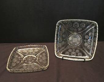 Vintage Clear Cut Glass Square Luncheon Plates