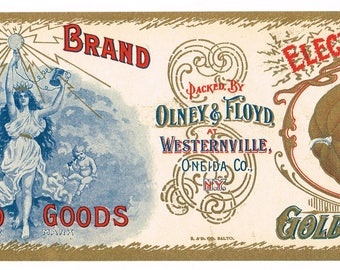Original vintage Tin Can label 1910s Electric Electricity Halloween Golden Pumpkin Westernville New York