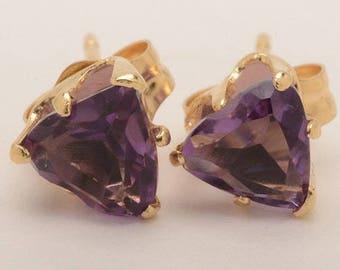 14K Yellow Gold Pierced Stud Earrings with Purple Amethyst