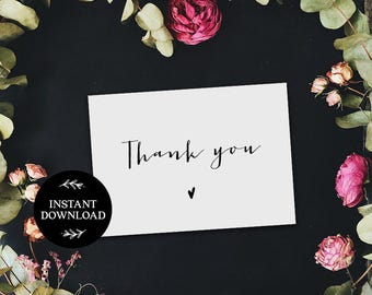 Thank You Cards Printable INSTANT DOWNLOAD PDF Rustic Thank You Card, Thanks Card, Favor Card, Wedding Thank You Card Sara
