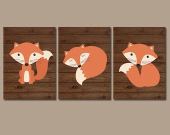 FOX Wall Art, FOX Nursery Art, Fox Decor, Woodland Nursery Decor, Wood Forest Animals, CANVAS or Prints, Fox Wood Background, Set of 3