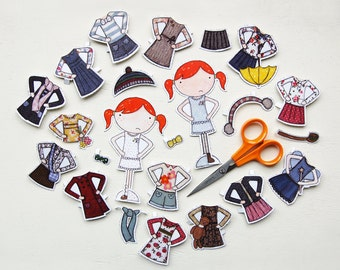 Clara Deluxe Outfits Set – Dress Up Paper Doll Activity Toy – Postcard Paper Dolls – Paper Activity For Kids – Children's Paper Doll Toy