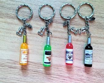 Wine bottle keyring, novelty alcohol keyring, Wine bottle keychain item 843 by CraftyLittleMonkeyGB