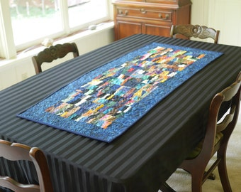 "Title ""Fractured Summer Light"" Art Quilt, Table Runner"