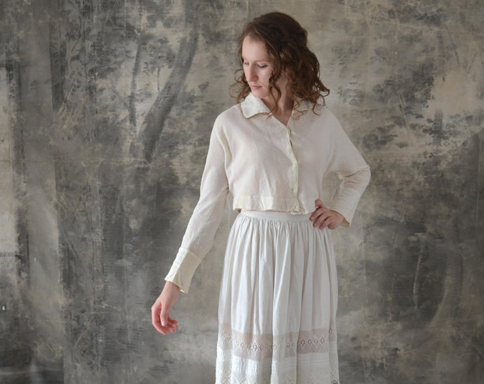 1930s Cropped White Blouse