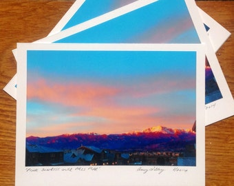 Pink Sunrise Over Pikes Peak, Photo Art Card