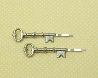 Skeleton key hair pins silver bobby pins retro  hair slides vintage style victorian