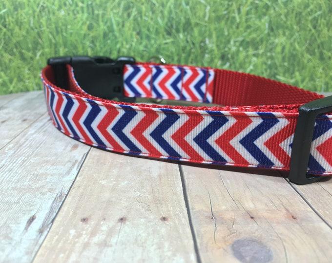 "The  Gendry | Designer 1"" Width Dog Collar | CupcakePups Collars | Fourth of July | American Pride | Red/Blue Chevron | Medium/Large Collar"