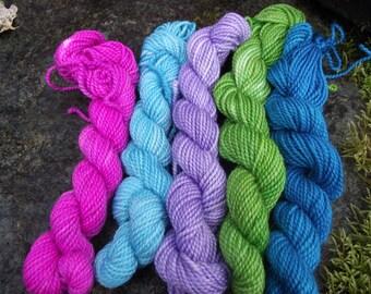 Yarn kit Merino wool Baby alpaca, Silk ,hand dyed DK sport yarn kit--Neon