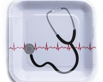 Stethoscope and EKG design party plates for doctor party/ nurse party/ pharmacist party, dinner size